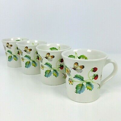 4 Vintage James Kent Old Foley Strawberry Coffee Mug Cup Bone China England