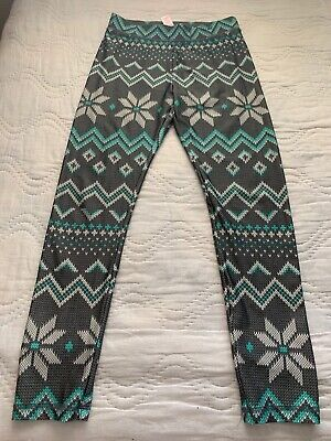 EUC Justice For Girls Leggings Gray Green Multi Printed Christmas Theme Size 10