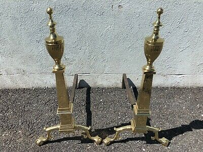 """Heavy Solid Brass Eagle Etched Pair Of Andirons 26 1/2"""" x 13 1/2"""" x 21"""" 1940's"""