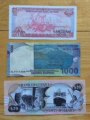 3 Different Mix World Banknotes Unc Set F - Boat Collection