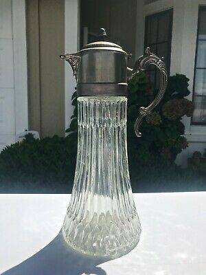 Antique Vtg. Pressed Glass & Pewter Wine Claret Jug~ Water Pitcher Art Nouveau