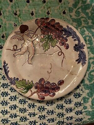 "8.25"" Vintage Ceramic Wall Plate Hanging Decor Cherub & Grapes ITALY"