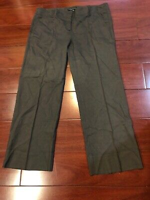 Theory Womens Brown Cropped Linen Casual Ankle Wide Legs Pants 10, Gorgeous