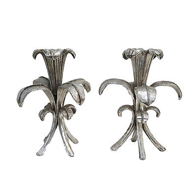 Pair Vintage Mid-Century Hollywood Regency Silver Gilt Lily Candle Holders