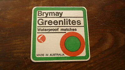OLD AUSTRALIAN BEER DRINKS COASTER, 1970s BRYMAY GREENLITES MATCHES
