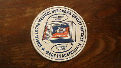 OLD AUSTRALIAN BEER DRINKS COASTER, 1970s BRYMAY CROWN MATCHES