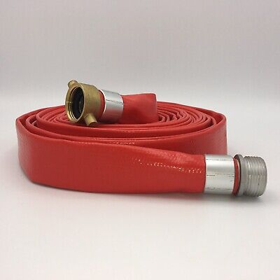"""Red 1"""" D X 25 Ft PVC Discharge Hose Flat With Brass Aluminum Couplers Fittings"""