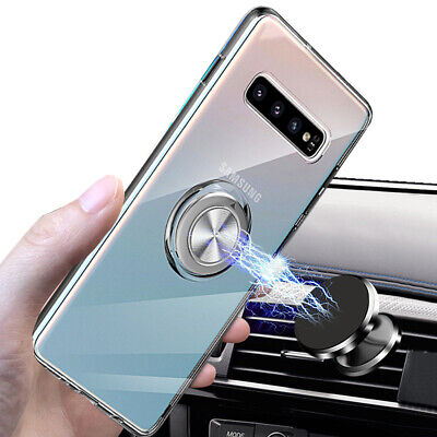 Crystal Clear Soft Case Cover for Samsung Galaxy S10 S9 S8 W/ Magnetic Ring Fast