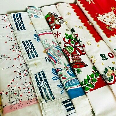 8 Vintage Tablecloths 50's Fruit Vegetables Christmas Floral Embroidered