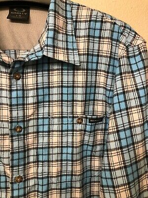 oakley mens shirt large flannel size L plaid check polyester blue gray white