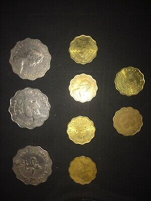 HONG KONG $2 coins..1975-1983-1988.. 3 of, SILVER. 6 - 20 cent coins.