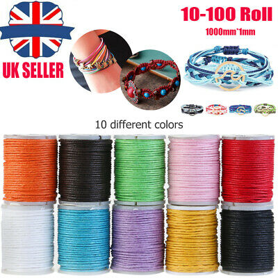 10 Roll Waxed Jewellery Cord Wire Roll Beading Thread Bracelet String DIY Making