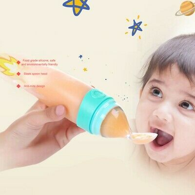 Baby Silicone Squeezing Feeding Spoon Bottle Safe Food Supplement Feeder Spoon
