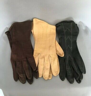 3x Pairs Vintage Ladies Leather Gloves Black Brown Beige Size S