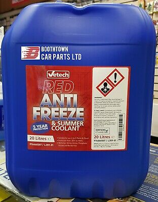 20 LTR VeTech New CONCENTRATED RED LONGLIFE (5yr) ANTIFREEZE - 20 LITRE 20L