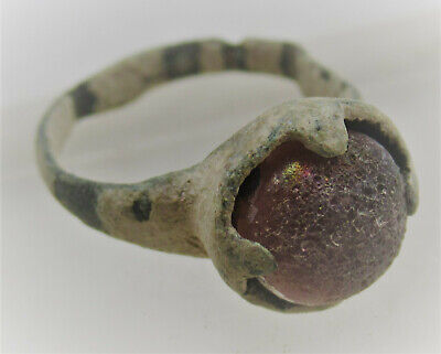 Circa 1000Ad Viking Era Norse Bronze Ring With Red Stone Inset