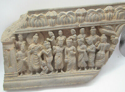 Circa 200Bce Ancient Gandharan Schist Stone Relief Panel Fragment Very Rare
