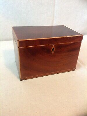 Beautiful Victorian Tea Caddy With Lovely Figured Mahogany Veneers