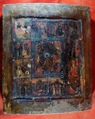 Antique Russian Orthodox icon,,Church Feasts,,from 18 century.