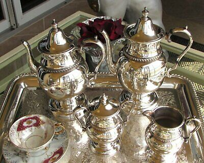 Academy Silver on Copper Tea Service, Silverplate 4-Piece Tea Set Circa 1950