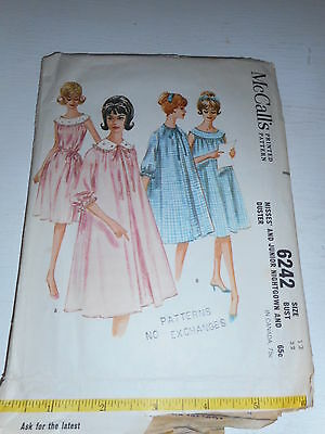 Vintage 1960s MCCall's Misses/Junior Nightgown housecoat Sz 12 6242 cut pattern