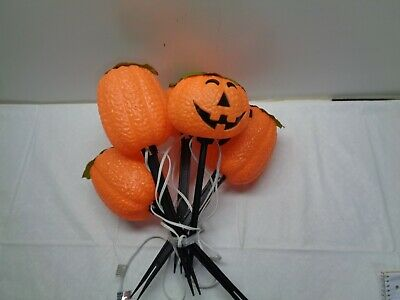 5 HALLOWEEN PUMPKIN STAKES Blow Mold LIGHT Decorations & Cord