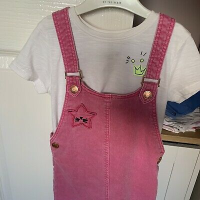 NEXT Pink Denim Dungaree Dress And Tshirt Aged 3-4