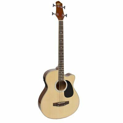 Electric Acoustic Bass Guitar Natural Solid Wood Construction w/ Equalizer