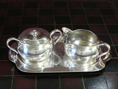 Creamer and Lidded Sugar on Tray Forbes Silver Plated Antique Circa 1930