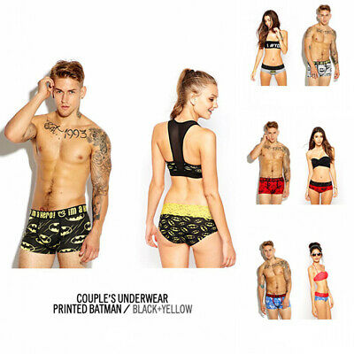 Pair of Sexy Lovers Couple Underwear Men's Boxer Briefs Shorts Women's Panties