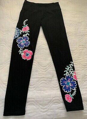 Justice Girls Black Leggings Pants with Pink & Blue Flowers Tropical Size 10