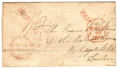 Canada 1843 Transatlantic Stampless Cover Montreal U.C. to London, England