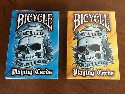 2 Deck Set Bicycle Club Tattoo  Blue & Yellow playing cards - NEW- SEALED