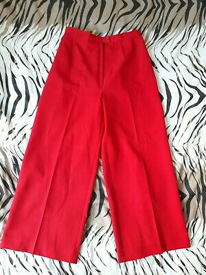 Vintage 70s glam bright red high-waisted wide leg trousers, size S/M