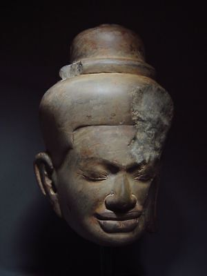 STONE HARDSTONE HEAD OF A MALE DIVINITY, KHMER ANGKOR 'BAPHUON' STYLE 11/12th C