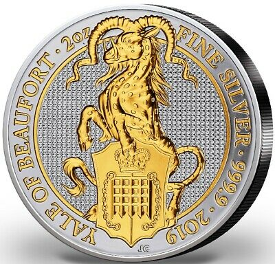 2019 UK Queen's Beasts The Yale of Beaufort Gold Gilded 2 Oz .999 Silver Coin