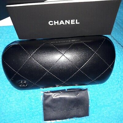 NEW BLACK HARD QUILTED CHANEL WOMENS GLASSES  CASE w' CLOTH in a BOX