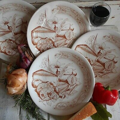 Six French Raclette Plates from the 1970s. Mid Century GIEN Fondue Plates.