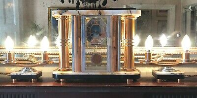 Period French Art Deco Modernist Pendulum Clock, Light Garnitures F Martin 1933