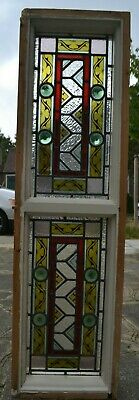 1130 x 319mm leaded light stained glass window sash. B968. NATIONWIDE DELIVERY