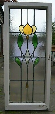 450 x 1048mm leaded light stained glass window sash. R960. NATIONWIDE DELIVERY