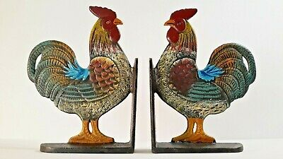 """Cast Iron Bookends Set Roosters 8"""" tall Kitchen Decor Solid Metal"""
