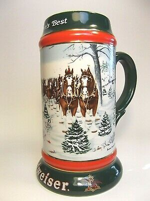 Vintage Budweiser Beer Stein Mug Christmas Wagon with Clydesdales Dalmatian