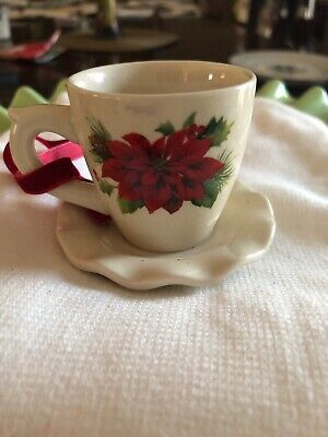 Cup And Saucer Christmas Ornament, Red Poinsetta With Hanger