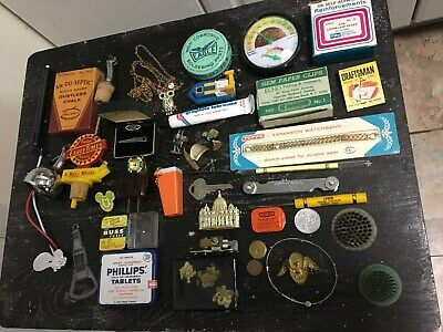 Mostly Vintage Junk Drawer Lot Tools Coins Tins Collectables Misc. Etc.
