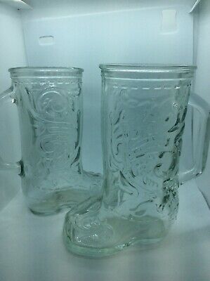 """Pair Of 2 Vintage Cowboy Boot Shaped Beer Mugs Glass 6"""" Tall"""