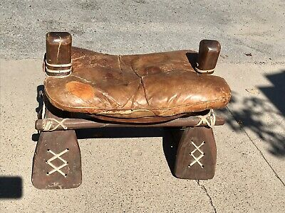 Antique Moroccan Camel Leather Saddle Ottoman Stool