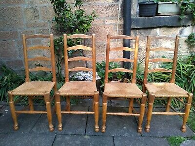 Set of 4 Antique Ladder Back Oak Dining Chairs. Rush Seats. Turned legs and rail