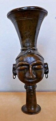 Unusual Cast Bronze Antique Funnel Womans Head with Water Vessel India C.1890's