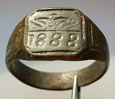 Perfect OLD BRONZE RING with engraved year 1888